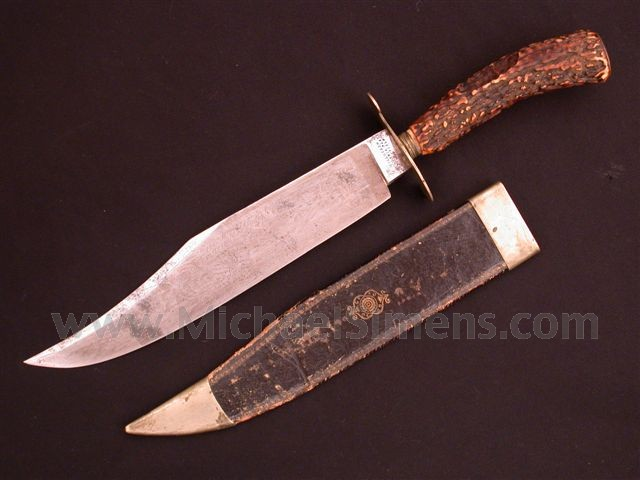 ANTIQUE BOWIE KNIFE BY TILLOTSON WITH PATRIOTIC AND CALIFORNIA MOTIFS.
