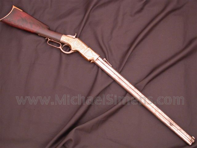 ANTIQUE HENRY RIFLE, ENGRAVED.