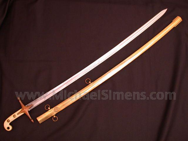 U. S. MARINE MAMELUKE SWORD, INSCRIBED.