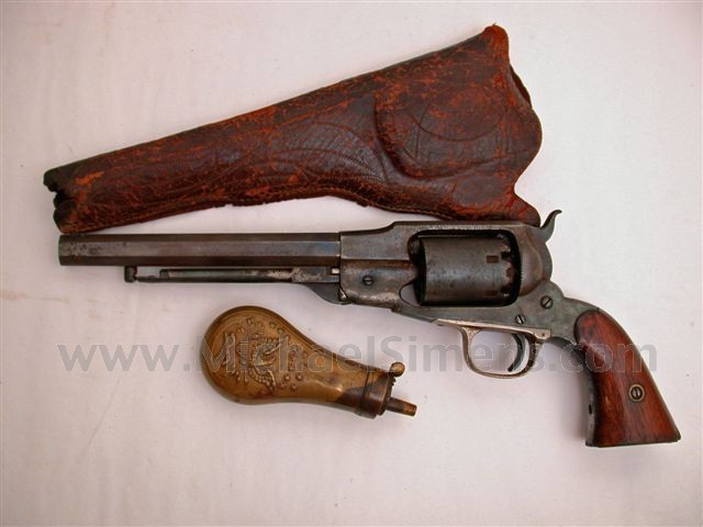ANTIQUE CIVIL WAR REVOLVER - WHITNEY NAVY REVOLVER, HOLSTER AND POWDER FLASK.