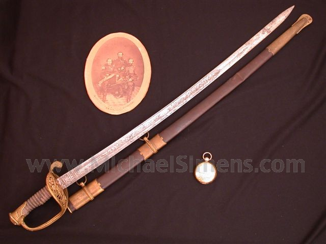 IDENTIFIED CIVIL WAR SWORD, WATCH AND PHOTOGRAPH