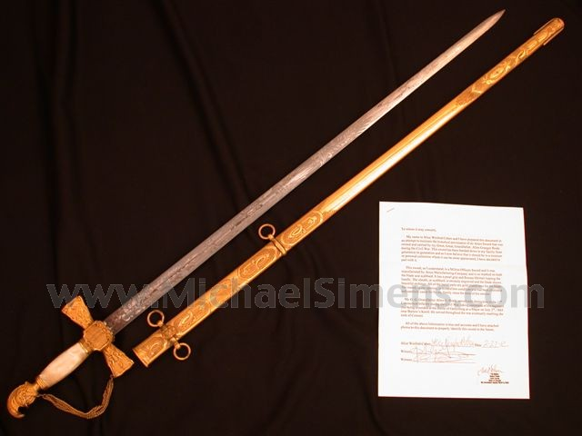 AMES MILITIA OFFICERS SWORD OF COLONEL ALLEN GRANGER BRADY, 17TH CONNECTICUT INFANTRY, WITH FULL NOTARIZED DOCUMENTATION.