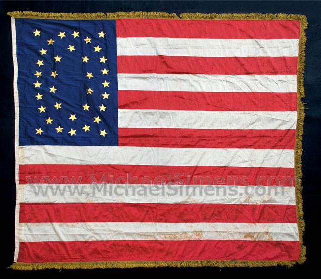 ANTIQUE CIVIL WAR FLAG, U. S. REGIMENTAL COLOR.