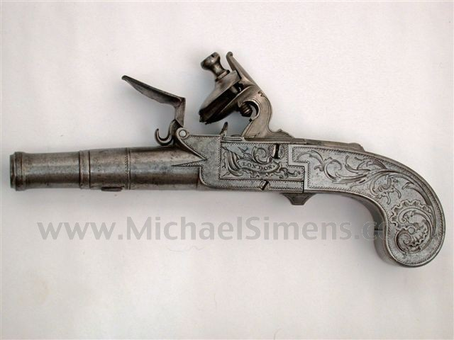 BRITISH FLINTLOCK PISTOL WITH CANNON BARREL FOR SALE - HISTORICAL ARMS