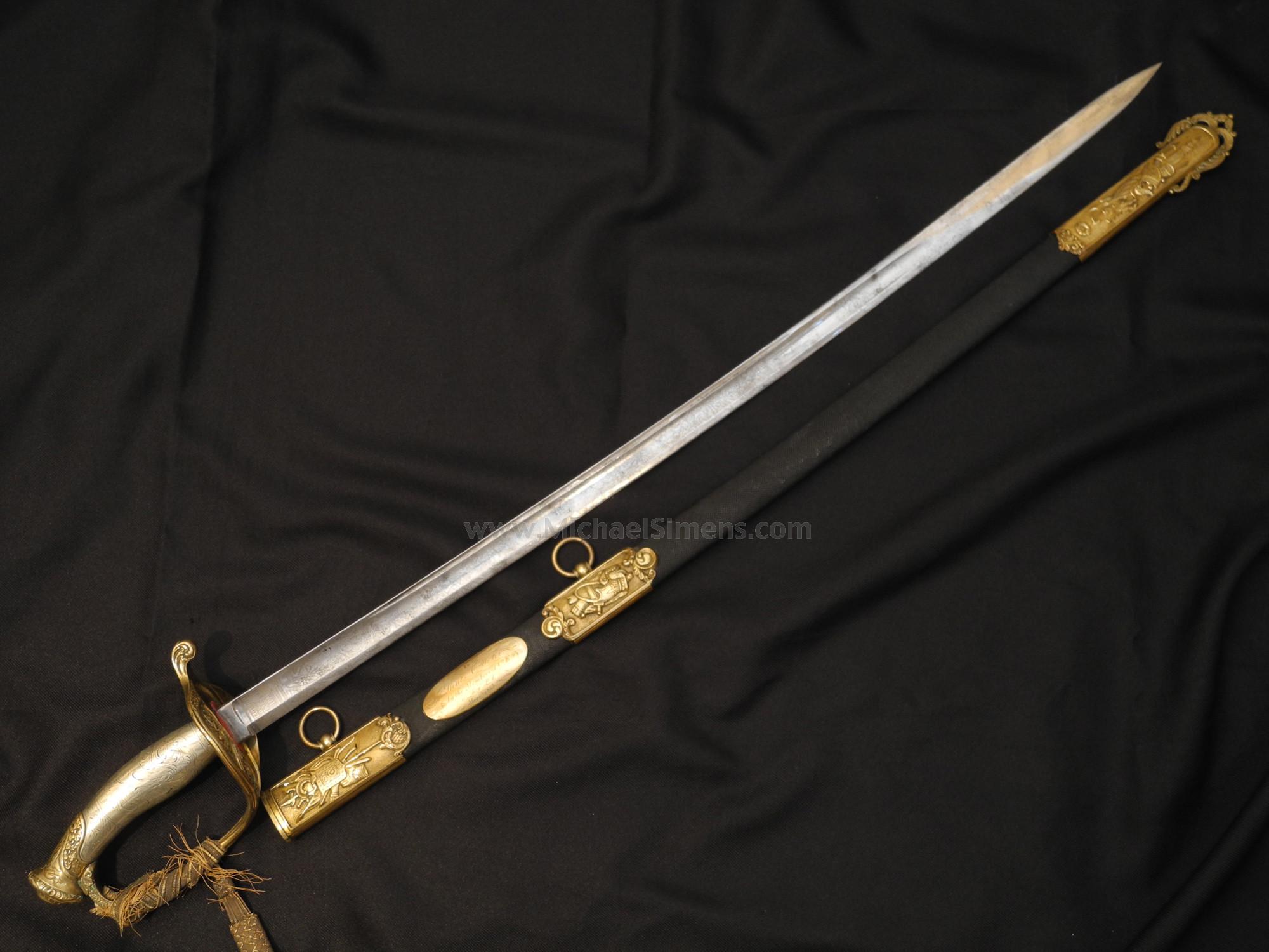Civil War presentation sword of Lieut. A.W. Fix, 114th Pennsylvania volunteers