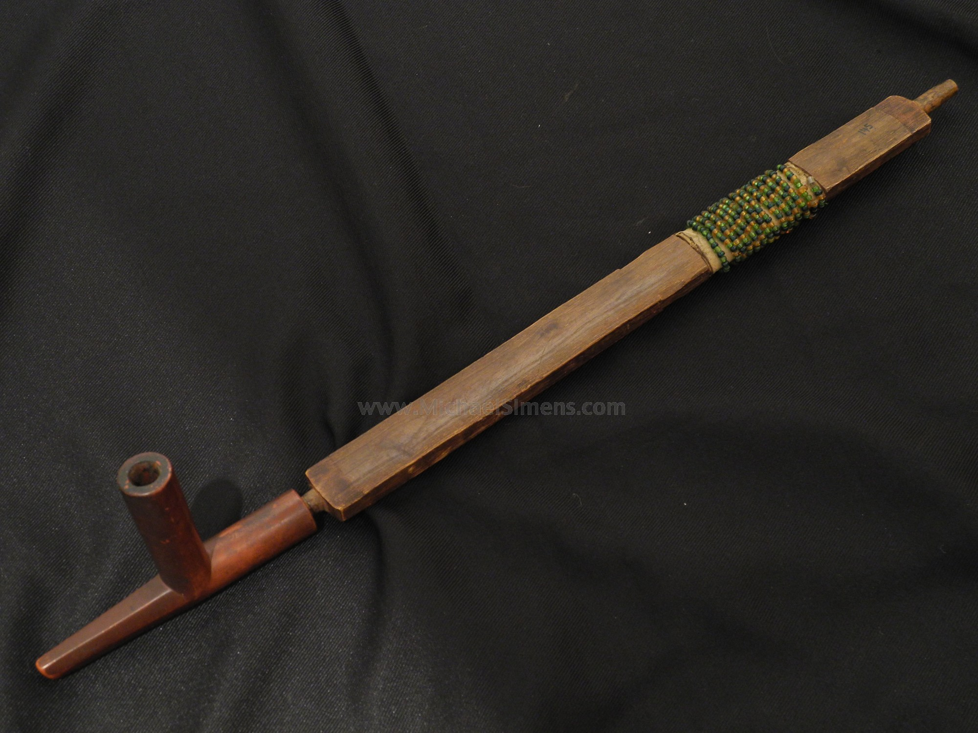 Original Indian Catlinite Pipe with carved and beaded stem