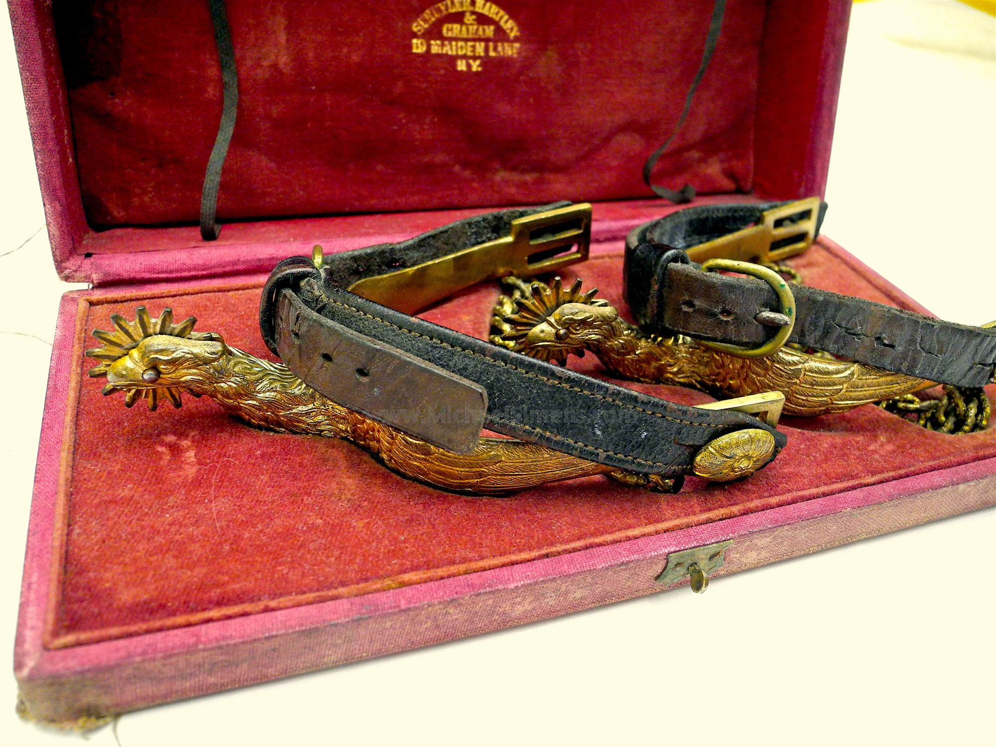 CASED CIVIL WAR OFFICERS SPURS