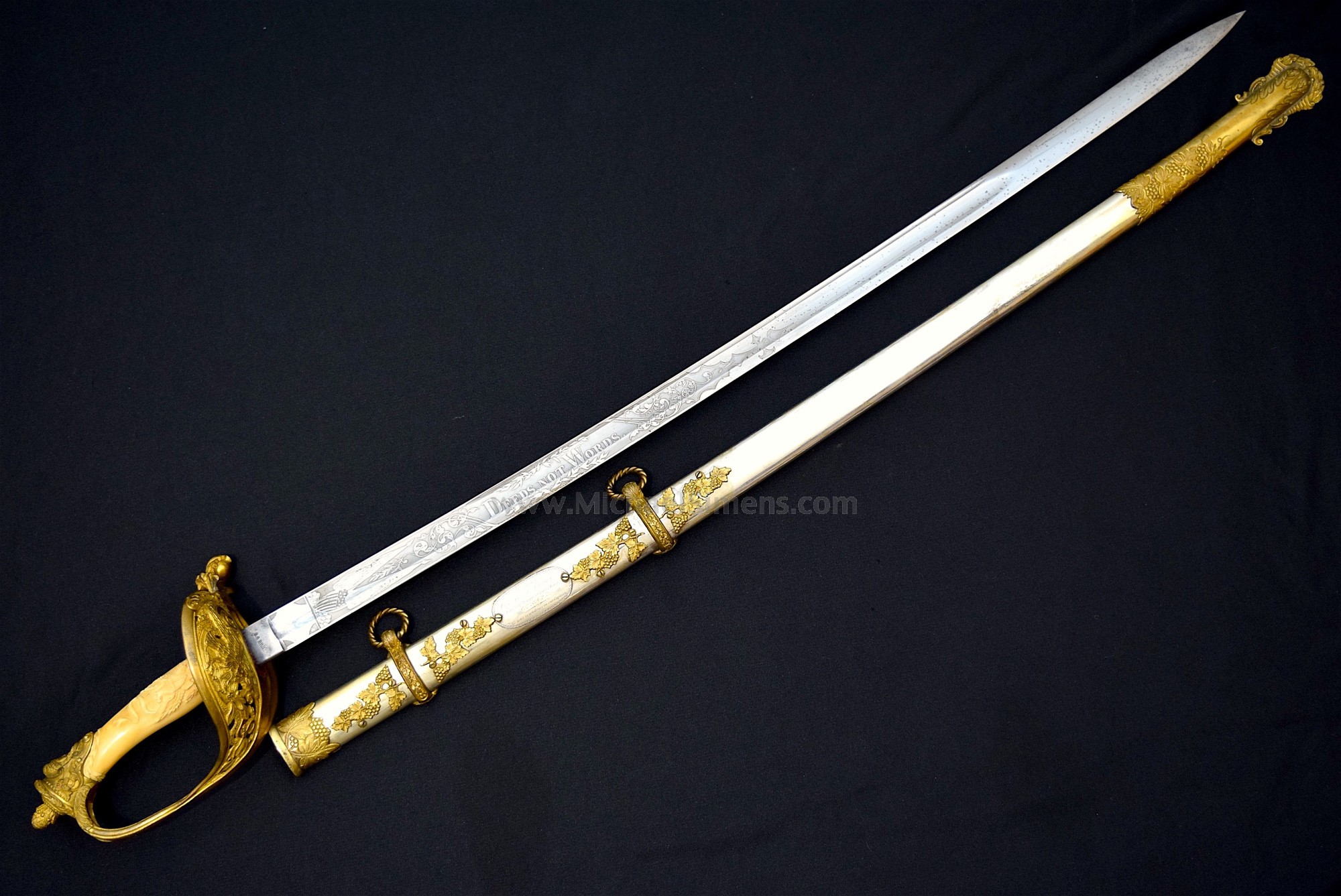 OUTSTANDING, INSCRIBED CIVIL WAR SABER WITH CARVED IVORY GRIP