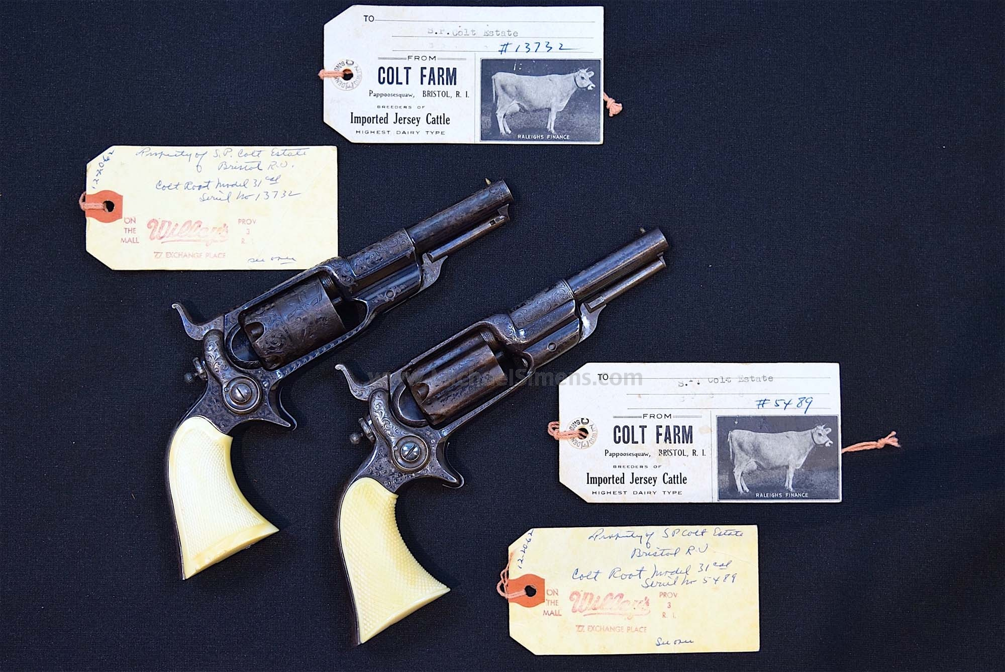 BEAUTIFUL ENGRAVED COLT ROOT REVOLVER OF SAMUEL POMEROY COLT