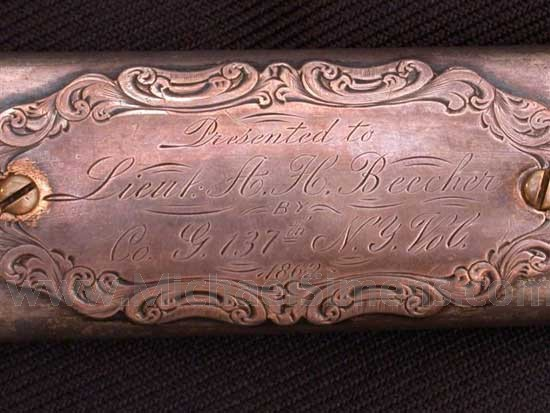 CIVIL WAR OFFICERS SWORD, HISTORICALLY INSCRIBED