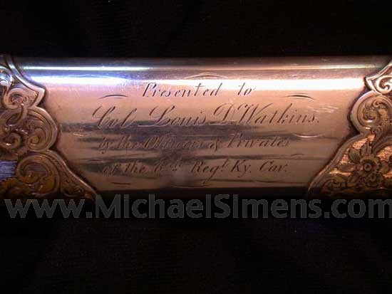 PRESENTATION CIVIL WAR CAVALRY SABER OF GENERAL LOUIS D. WATKINS.