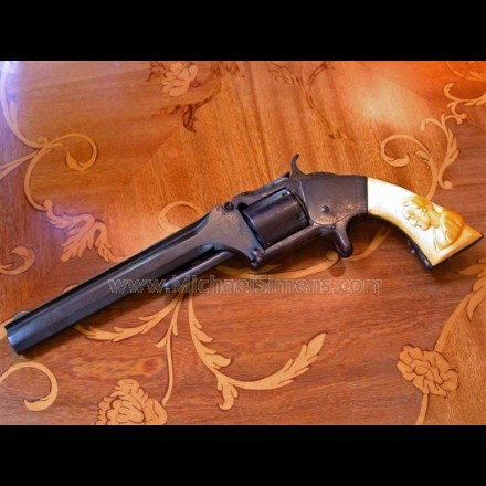 ANTIQUE #2 SMITH & WESSON REVOLVER, CIVIL WAR OFFICERS WITH FACTORY IVORY GRIPS.