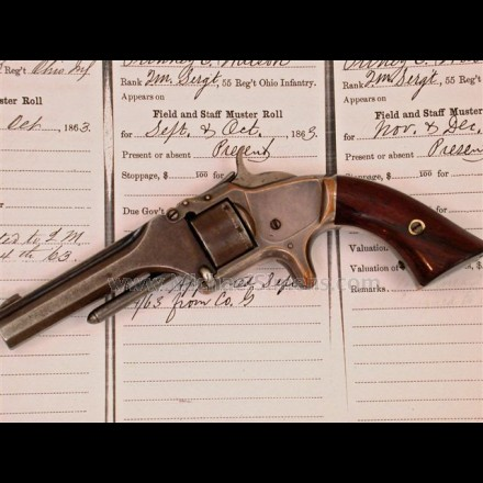 ANTIQUE CIVIL WAR REVOLVER. SMITH & WESSON REVOLVER, NUMBER 1 SECOND ISSUE WITH HISTORICAL CIVIL WAR INSCRIPTION.