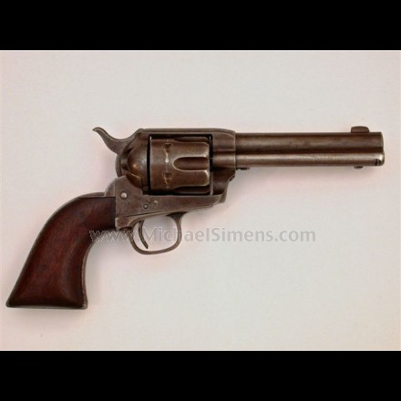 ANTIQUE COLT SINGLE ACTION ARMY REVOLVER WITH ORIGINAL PERIOD HOLSTER AND MONEY-BELT.