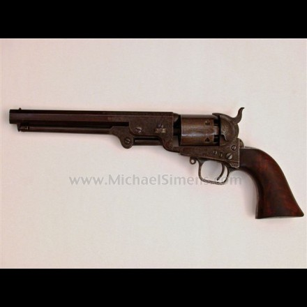 ANTIQUE COLT 1851 NAVY REVOLVER, 4-SCREW CUT-FOR-STOCK, FACTORY ENGRAVED.