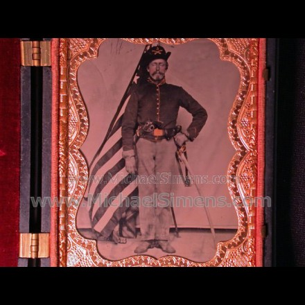 CIVIL WAR TIN TYPE IMAGE WITH COLT DRAGOON