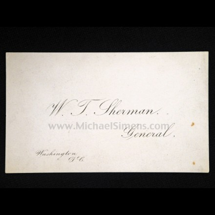 GENERAL SHERMAN BUSINESS CARD WITH A. S. WEBB SIGNATURE ON VERSO