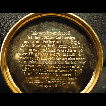 CIVIL WAR POCKET WATCH, INSCRIBED, IDENTIFIED