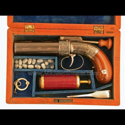 ANTIQUE PEPPERBOX PISTOL CASED WITH ACCESSORIES.