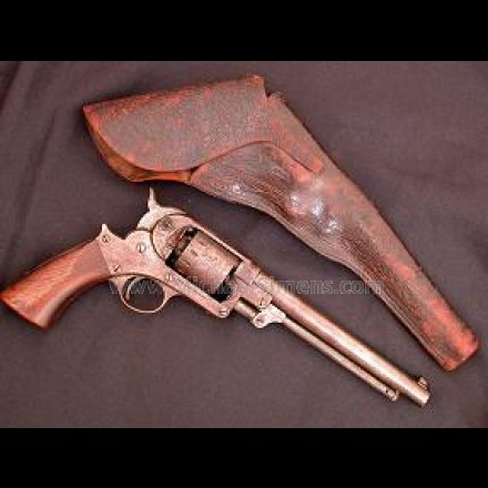 STARR SINGLE ACTION REVOLVER, LOADED WITH TOOLED HOLSTER