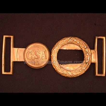 """CONFEDERATE TWO-PIECE BELT-PLATE WITH """"CSA"""" MOTIF."""