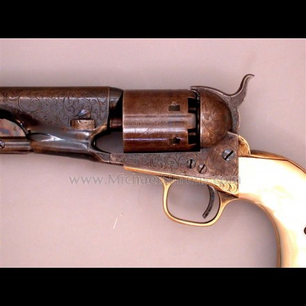 COLT MODEL 1861 NAVY REVOLVER, FACTORY ENGRAVED AND EXTREMELY RARE FACTORY MOTHER-OF-PEARL IVORY GRIPS.