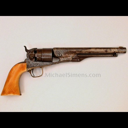 FACTORY ENGRAVED COLT 1860 ARMY REVOLVER WITH RAISED CARVED IVORY GRIPS.