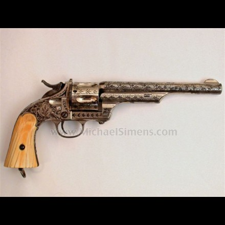 MERWIN & HULBERT SINGLE ACTION REVOLVER, LARGE-FRAME, EARLY OPEN-TOP MODEL, FACTORY ENGRAVED WITH FACTORY IVORY GRIPS.