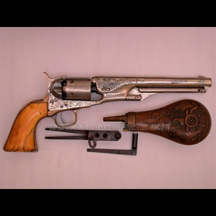 COLT 1861 NAVY REVOLVER, CASED WITH ACCESSORIES.