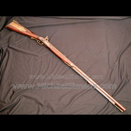 HARPERS FERRY FLINTLOCK RIFLE, U.S. MARKED 1803 PATTERN WITH 1814 ISSUE DATE AND ALL INSPECTOR MARKS.
