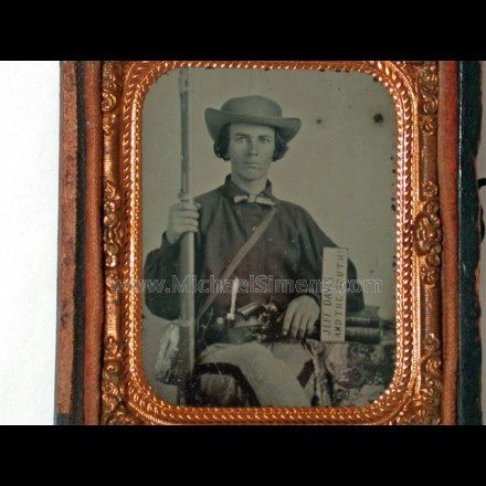 "CONFEDERATE CIVIL WAR AMBROTYPE ""JEFF DAVIS"" SIGN"