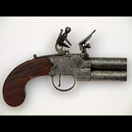 DOUBLE BARREL FLINTLOCK PISTOL FOR SALE - HISTORICAL ARMS