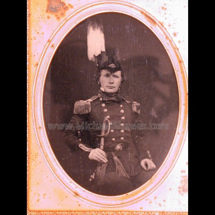 MILITARY AMBROTYPE IMAGE OF A MILITIA OFFICER, EARLY PRE CIVIL WAR OR CIVIL WAR.